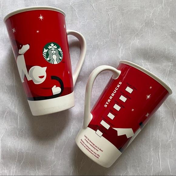 Starbucks 2011 Holiday Mug Set Of 2 Dog Sled